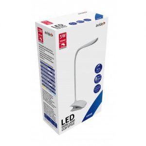 Avide LED Asztali Lámpa, 3 W, Csiptetős, Fehér