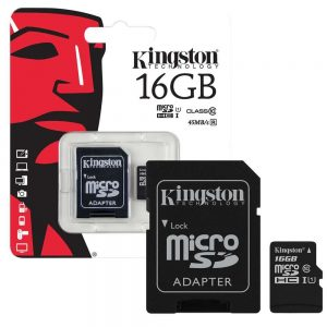 Kingston 16GB CL10 micro SDHC kártya+SD adapter