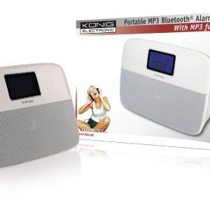 KÖNIG, Hordozható Bluetooth hangszóró, ébresztőóra, fehér