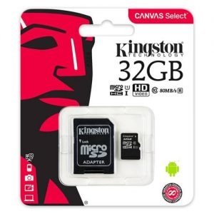 Kingston 32GB micro SDHC CL10 kártya+SD adapter