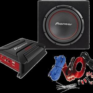 Pioneer GM-A3602 erősítő, TS-W306R mélysugárzó, zárt ládába szerelve, GXT kábel szett (táp- és hangszóró kábel, biztosítékkal, csatlakozókkal)