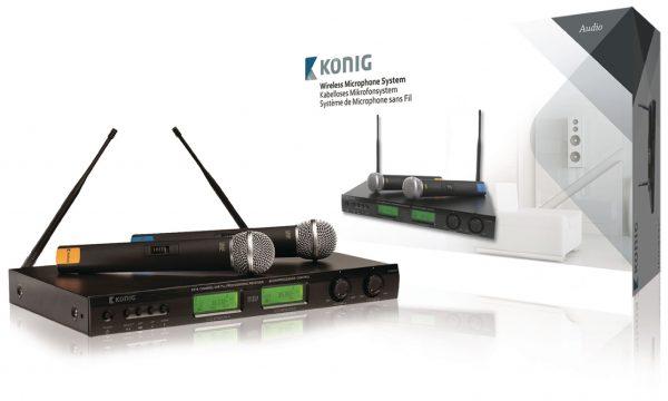 KÖNIG KN-MICW621, 16 csatornás Vezeték nélküli mikrofonrendszer, 2 db mikrofonnal