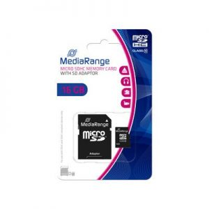 MediaRange 16GB CL10 micro SDHC kártya+SD adapter