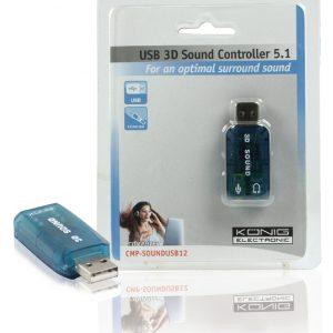 Kompakt, átlátszó USB 3D Sound Controller 5.1