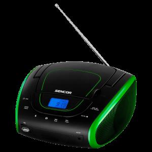 SENCOR, SPT 1600 BGN, rádió, CD, USB, AUX, zöld